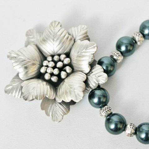 Silver Tropical Flower Pendant Swarovski Tahitian Pearls and Silver Beads Necklace and Earrings