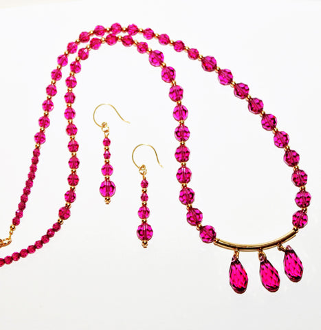 Fuchsia Swarovski Crystals and Gold Necklace and Earring Set