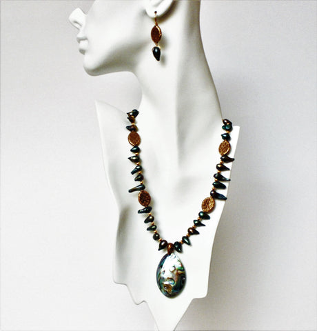 Abalone Pendant and Freshwater Pearls with Copper Necklace and Earring Set