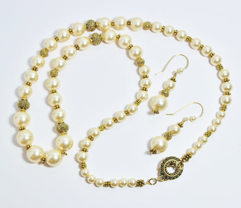 Swarovski Light Gold crystal Pearl and Antique Gold Plated Pewter Necklace and Earring Set