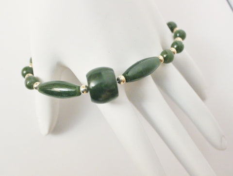 Dark Green Natural Nephrite Jade and Sterling Silver Bracelet