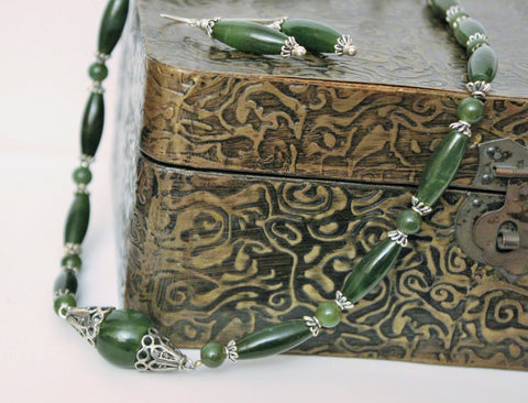 Genuine Natural Dark Green Nephrite Jade and Sterling Silver Necklace and Earring Set