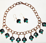 Matte Black Obsidian & Turquoise with Copper Chain Necklace and Earring Set
