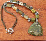 Ocean Jasper Pendant and Beads on Brown Suede Cord