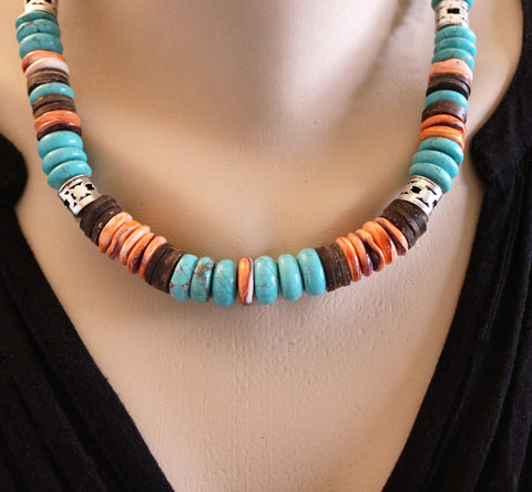 Large Blue Green Turquoise and Orange Spiny Oyster Sterling Necklace