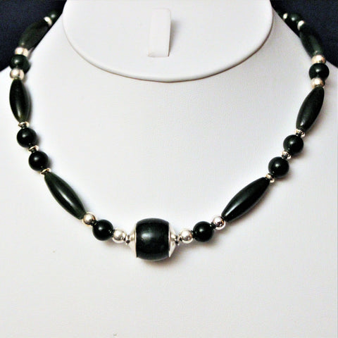 Dark Green Nephrite Jade and Sterling Necklace