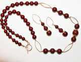 Bordeaux Crystal Pearls and Gold Filled Necklace and Earrings