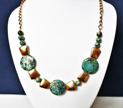 African Jasper Large Discs and Copper Necklace