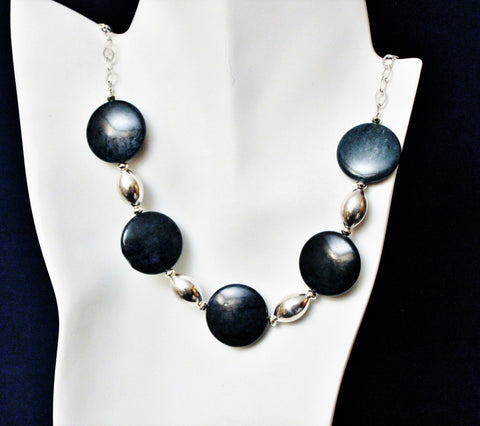 Large Coin Dark Blue Dumortierite Gemstone Beads and Sterling Beads on Chain Necklace