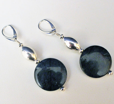 Coin Dark Blue Dumortierite Gemstone Beads and Sterling Earrings