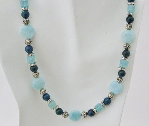 Amazonite, Azurite and Swarovski Crystal with Pewter Necklace and Earring Set