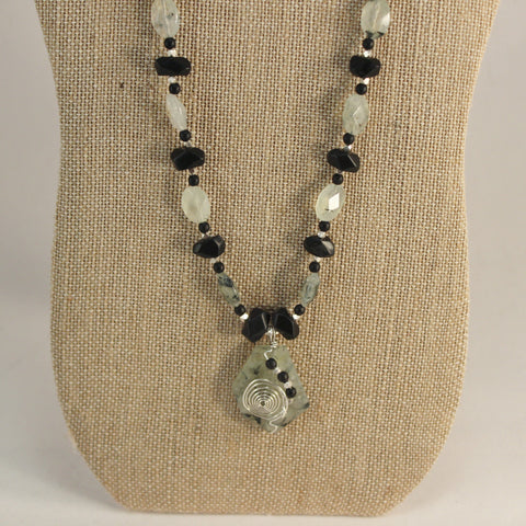 Prehnite Faceted Trapezoid Pendant and Oval Beads, Black Onyx and Sterling Necklace