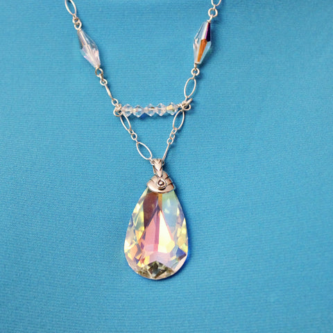 Swarovski AB Crystal Teardrop Pendant with AB Crystals on Sterling Chain