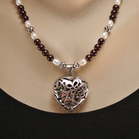 Sterling Filigree Heart, Deep Red Garnet Gemstone Beads and Freshwater Pearls with Bali Sterling