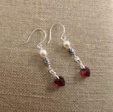 Swarovski Garnet Hearts, White Cultured Freshwater Pearls and Bali Sterling Earrings