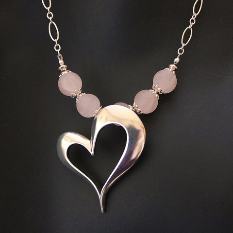 Large Sterling Open Heart Pendant and Matte Rose Quartz Beads on Sterling Chain Necklace