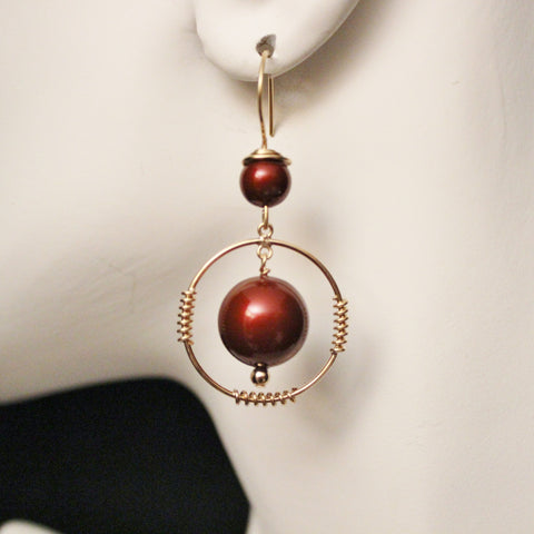 Swarovski Bordeaux Crystal Pearls and Gold Filled Earrings