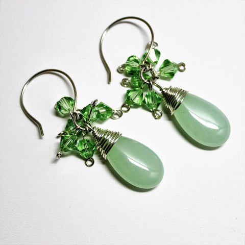 Sterling Wrapped Light Green Chalcedony Teardrops with Peridot Swarovski Crystals Earrings
