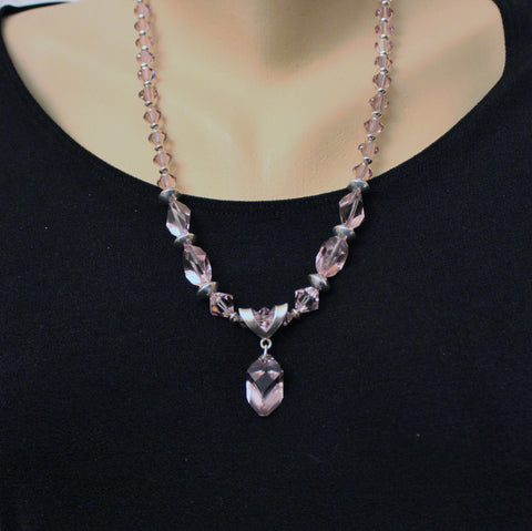 Light Amethyst Swarovski Crystals and Sterling Beads Necklace Set