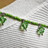 Swarovski Peridot Crystals Lime Seed Beads and Silver Filled Beads and Clasp