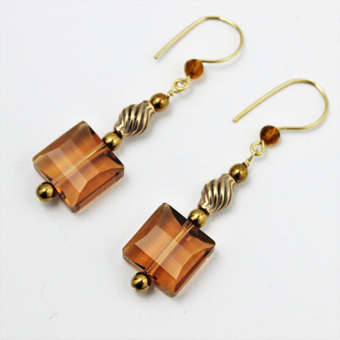 Swarovski Light Smoked Stairway Bead Earrings with Bronze and Gold Filled