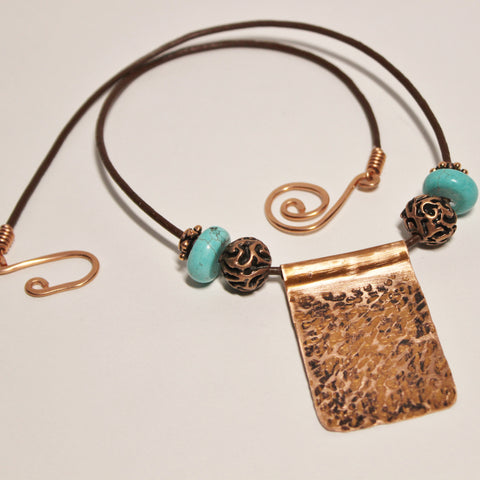 Copper Pendant with Copper and Turquoise Beads on Leather Cord