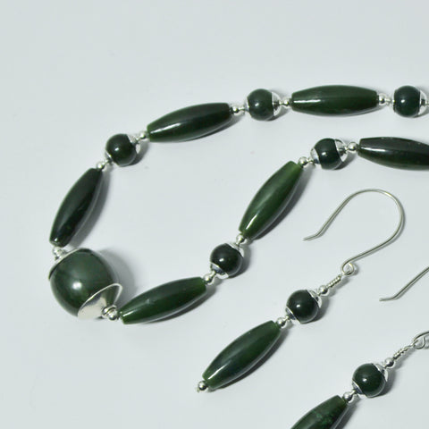 Dark Green Natural Gemstone Nephrite Jade and Sterling Necklace and Earrings