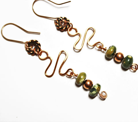 Multi-Color Rhyolite Gemstone Beads with Copper Wire Design on Gold Filled Ear Wires Earrings
