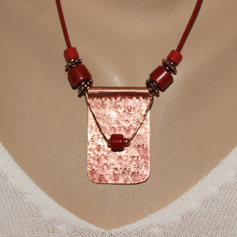 Textured Red Patinaed Rectangular Copper Pendant with Red Beads on Brick Red Leather Cord