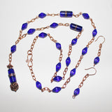 Cobalt Blue African Trade Bead Pendant and Bohemian Beads on Copper Chain Necklace and Earring Set