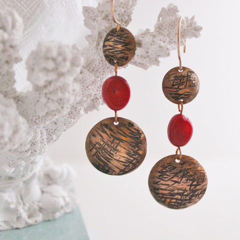 Handcrafted Textured Antiqued Copper Domes with Red Coral Dangle Earrings