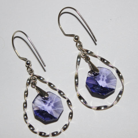 Swarovski Tanzanite Octagon Pendant Crystals on Silver Filled Twisted Teardrop Hoops