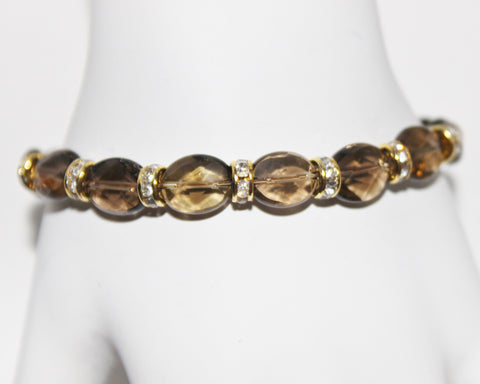 Smoky Quartz Gemstone and Swarovski Crystal Rondelles Gold Filled Bracelet