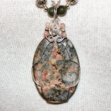 Rhodonite Druzy Wrapped Pendant, Peruvian Opal & Sterling Necklace