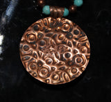 Embossed Copper Pendant Necklace with Turquoise Cab and Turquoise Coral Fossil Beads