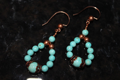 Turquoise Coral Fossil Riverstone Beads with Copper Earrings on Rose Gold Filled Earwires