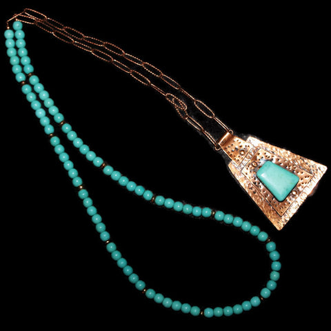 Trapezoid Copper Pendant with Turquoise Beads on Copper Chain