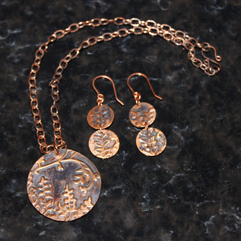 Handcrafted Embossed Round Wisteria Patinaed Copper Pendant on Chain with Matching Earrings