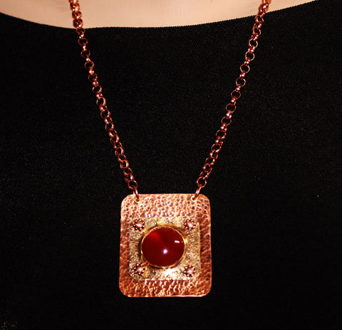 Textured Copper and Brass Rectangular Pendant with Carnelian Cabochon on Copper Chain