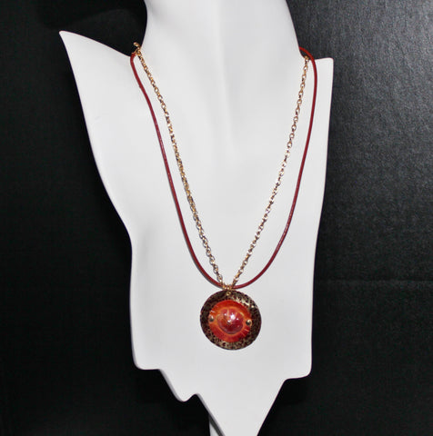 Patinaed Brass with Red Orange Flower Pendant on Brick Red Leather Cord and Gold Chain