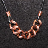 Men's Heavy Copper Curb Link Chain on Black Leather Cord Necklace