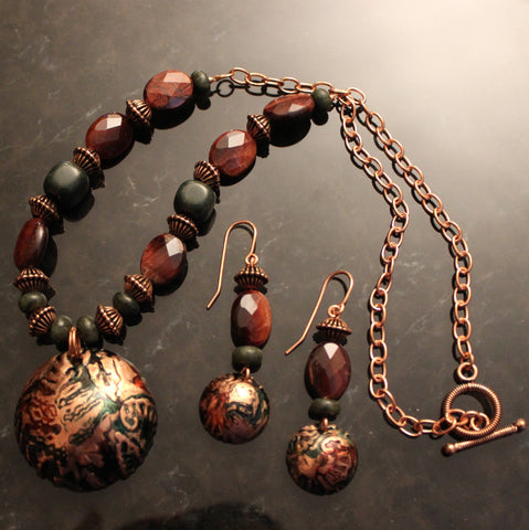 Embossed Patinaed Copper Pendant with Green Jasper and Red Tiger Eye Necklace and Earring Set