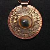 Bronze and Copper Pendant with Green Operculum Cat's Eye or Eye of Shiva