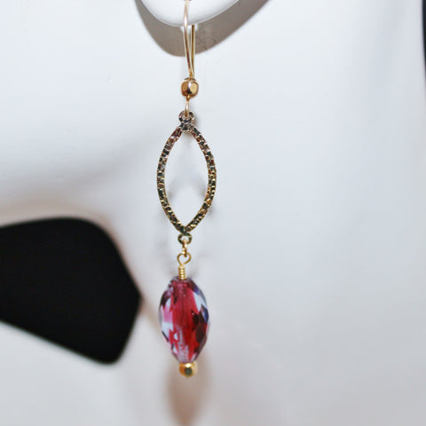 Ruby and Light Sapphire Czech Faceted Ovals and Gold Filled Earrings