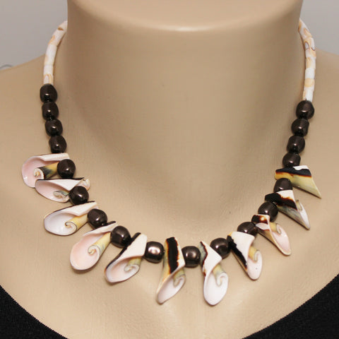 Everlasting Curly Shell, Brown Swarovski Crystal Pearls Sterling Necklace
