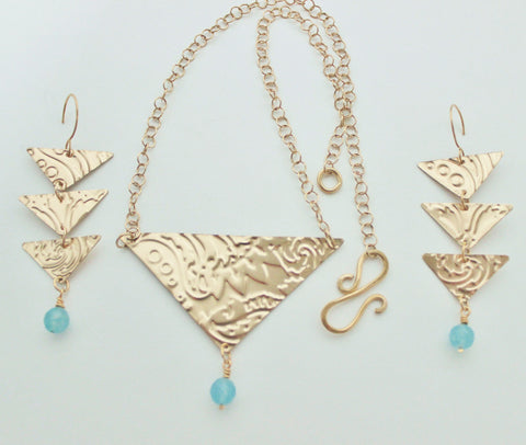Bronze Embossed Triangular Pendant with Chalcedony Necklace and Earring Set