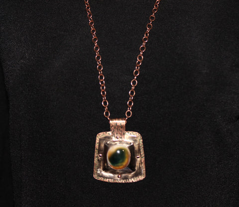 Bronze and Copper Pendant with Cat's Eye Operculum Cabochon on Copper Chain