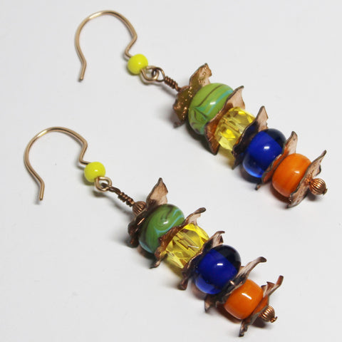 Multi Color Beads with Textured Copper Squares Dangle Earrings
