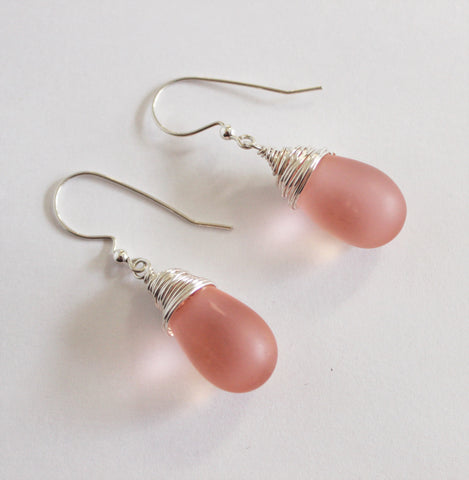 Pink Matte Czech Glass Briolettes and Sterling Drop Earrings