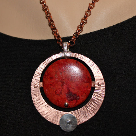 Red Coral Copper and Silver Pendant on Copper Chain